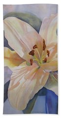 Bath Towel featuring the painting Yellow Lily by Teresa Beyer