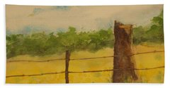 Bath Towel featuring the painting Yellow Meadow  by Vicki  Housel