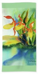 Bath Towel featuring the painting Yellow Moccasin Flowers by Kathy Braud