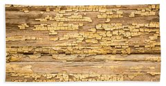 Hand Towel featuring the photograph Yellow Painted Aged Wood by John Williams