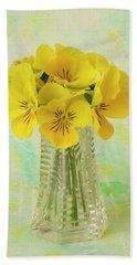Yellow Pansies In Vase  Bath Towel