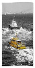 Yellow Pilot Yokohama Port Bath Towel by Susan Lafleur