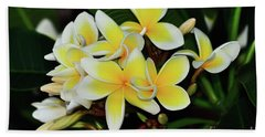 Hand Towel featuring the photograph Yellow Plumeria By Kaye Menner by Kaye Menner