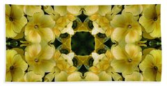 Yellow Primrose Kaleidoscope Bath Towel