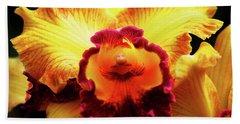 Yellow-purple Orchid Bath Towel
