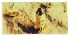 Yellow Rocket On Planetoid Exploration Bath Towel