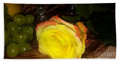 Yellow Rose And Grapes Hand Towel