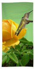 Yellow Rose And Hummingbird 2 Hand Towel