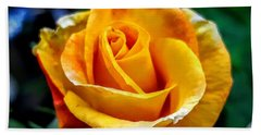 Hand Towel featuring the photograph Yellow Rose by Garnett Jaeger