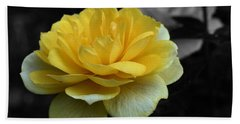 Yellow Rose In Bloom Hand Towel by Smilin Eyes  Treasures