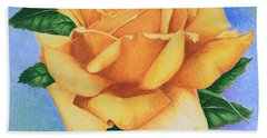 Yellow Rose Hand Towel by Marna Edwards Flavell