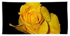 Yellow Rose With Dew Drops Hand Towel