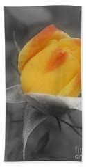 Yellow Rosebud Partial Color Hand Towel by Smilin Eyes  Treasures