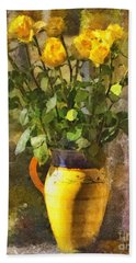 Yellow Roses Bouquet Hand Towel