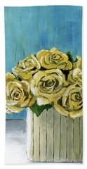 Yellow Roses In Vase Bath Towel