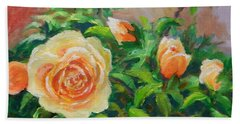 Yellow Roses Bath Towel by William Reed