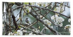 Yellow-rumped Warbler In Pear Tree Bath Towel