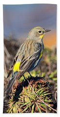 Yellow-rumped Warbler On The Bluff Hand Towel