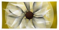 Hand Towel featuring the digital art Yellow Soft Flower by Alberto RuiZ