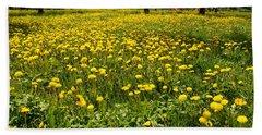 Yellow Spring Carpet Hand Towel by Henryk Gorecki
