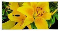 Yellow Tiger Lily In The Spring Hand Towel