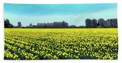 Yellow Tulip Fields Bath Towel by David Patterson