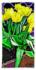 Hand Towel featuring the painting Yellow Tulips by Joan Reese