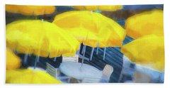 Yellow Umbrellas Bath Towel by Glenn Gemmell