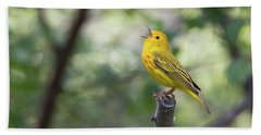 Yellow Warbler In Song Bath Towel