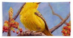 Hand Towel featuring the painting Yellow Warbler by Joe Bergholm