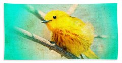 Hand Towel featuring the photograph Yellow Warbler by John Wills