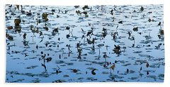 Yellow Water Lilies In Deep Silhouette Hand Towel