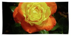 Yellow Red Rose Flower. Bath Towel