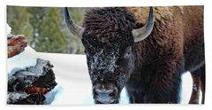 Yellowstone Buffalo Stare-down Bath Towel