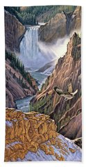 Yellowstone Canyon-osprey Bath Towel