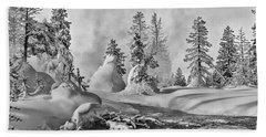 Bath Towel featuring the photograph Yellowstone In Winter by Gary Lengyel