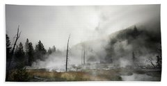 Yellowstone Morning Fog Bath Towel