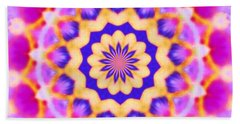 Yelow Pink Blue Mandala Hand Towel by Shirley Moravec