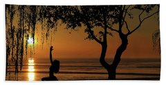 Yoga By The Bay At Sunset Hand Towel