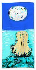 Yoga By The Sea Under The Moon Hand Towel