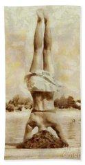 Yoga On The Dock Vintage Hand Towel