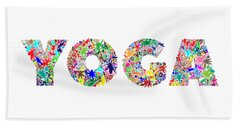 Yoga Word Art Bath Towel
