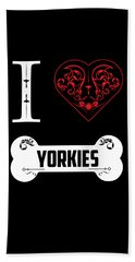 Yorkie Design I Heart Yorkies Bone Ornaments Hand Towel