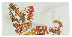 Bath Towel featuring the painting Yorkshire Terrier Watercolor Painting / Typographic Art by Inspirowl Design
