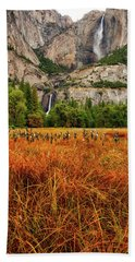 Yosemite Falls Autumn Colors Hand Towel