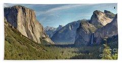 Yosemite Falls Hand Towel by Walter Colvin