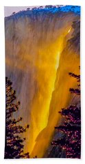 Yosemite Firefall Painting Hand Towel by Dr Bob Johnston