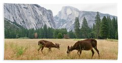 Yosemite's Half Dome And Two Deer Bath Towel