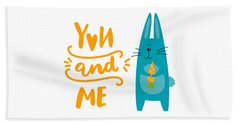 Hand Towel featuring the digital art You And Me Bunny Rabbit by Edward Fielding