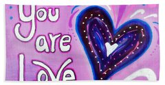 Hand Towel featuring the painting You Are Love Purple Heart by Bob Baker and Pooki Lee